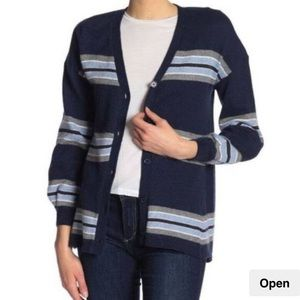 Democracy Navy Striped Girlfriend Cardigan